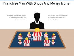Franchise Man With Shops And Money Icons