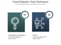 Fraud Detection Tools Techniques Ppt Powerpoint Presentation Infographics Model Cpb