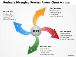 free download diverging process arrow chart 4 steps Cycle Diagram PowerPoint Slides