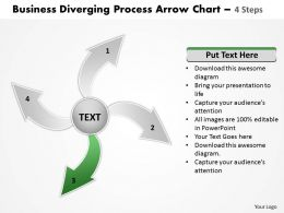 Diverging Process Arrow Chart 4 Steps Cycle Diagram Free PowerPoint Templates