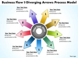 Flow 9 diverging arrows process model Cycle Diagram PowerPoint Slides