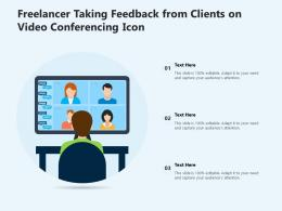 Freelancer Taking Feedback From Clients On Video Conferencing Icon
