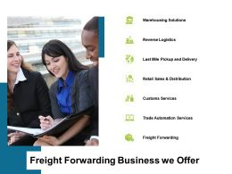Freight Forwarding Business We Offer Ppt Powerpoint Presentation Styles Outfit