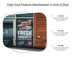 Fresh Food Products Advertisement In Front Of Diner