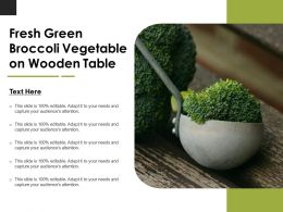 Fresh Green Broccoli Vegetable On Wooden Table