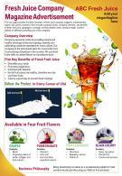 Fresh Juice Company Magazine Advertisement Presentation Report PPT PDF Document