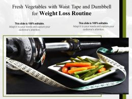 Fresh Vegetables With Waist Tape And Dumbbell For Weight Loss Routine