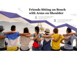 Friends Sitting On Bench With Arms On Shoulder
