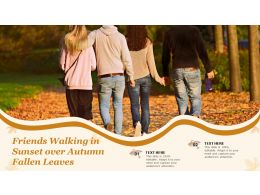 Friends Walking In Sunset Over Autumn Fallen Leaves