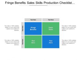 Fringe Benefits Sales Skills Production Checklist Project Management Cpb