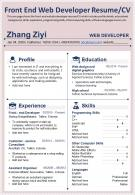 Front End Web Developer Resume CV Presentation Report Infographic PPT PDF Document