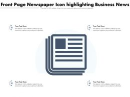 Front Page Newspaper Icon Highlighting Business News