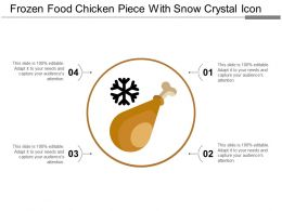 Frozen Food Chicken Piece With Snow Crystal Icon