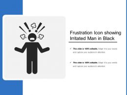 Frustration Icon Showing Irritated Man In Black