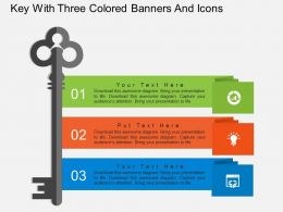 fs Key With Three Colored Banners And Icons Flat Powerpoint Design