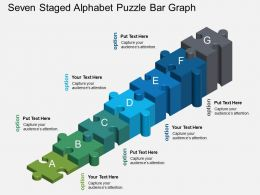Fs Seven Staged Alphabet Puzzle Bar Graph Powerpoint Template