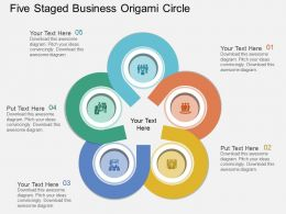 ft Five Staged Business Origami Circle Flat Powerpoint Design