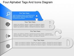ft Four Alphabet Tags And Icons Diagram Powerpoint Template