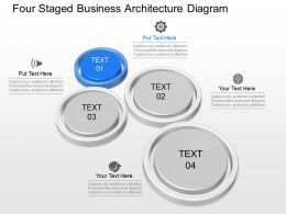 ft Four Staged Business Architecture Diagram Powerpoint Template