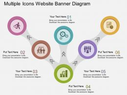 ft Multiple Icons Website Banner Diagram Flat Powerpoint Design