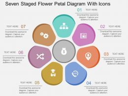 Ft Seven Staged Flower Petal Diagram With Icons Flat Powerpoint Design