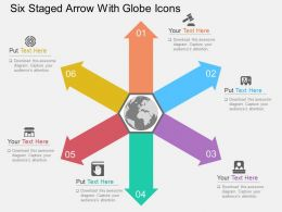 Ft Six Staged Arrow With Globe Icons Flat Powerpoint Design