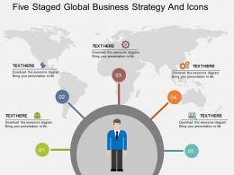 fu Five Staged Global Business Strategy And Icons Flat Powerpoint Design