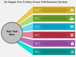 Fu Six Staged One To Many Arrows With Business Symbols Flat Powerpoint Design