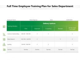 Full Time Employee Training Plan For Sales Department