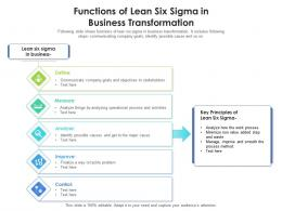 Functions Of Lean Six Sigma In Business Transformation