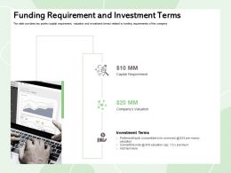 Funding Requirement And Investment Terms Convertible Note Ppt Powerpoint Presentation Icon