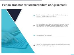 Funds Transfer For Memorandum Of Agreement Ppt Powerpoint Presentation Inspiration