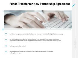 Funds Transfer For New Partnership Agreement Ppt Powerpoint Slides