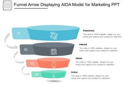 Funnel Arrow Displaying AIDA Model For Marketing PPT