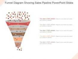 Funnel Diagram Showing Sales Pipeline Powerpoint Slides