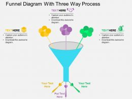 Funnel Diagram With Three Way Process Flat Powerpoint Design