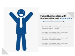 Funny Business Icon With Business Man With Hands In Air