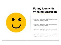 Funny Icon With Winking Emoticon