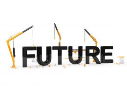 Future Text With Hurdles And Crane Stock Photo
