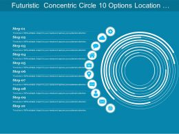 Futuristic Concentric Circle 10 Options Location Globe Cloud
