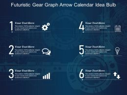 Futuristic Gear Graph Arrow Calendar Idea Bulb