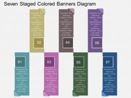 fv Seven Staged Colored Banners Diagram Flat Powerpoint Design