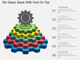 Fv Six Gears Stack With One On Top Powerpoint Template