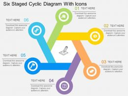 Fv Six Staged Cyclic Diagram With Icons Flat Powerpoint Design