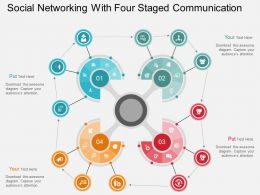 Fv Social Networking With Four Staged Communication Flat Powerpoint Design