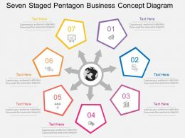 fw Seven Staged Pentagon Business Concept Diagram Flat Powerpoint Design