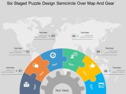 Fw Six Staged Puzzle Design Semicircle Over Map And Gear Flat Powerpoint Design
