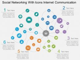 Fw Social Networking With Icons Internet Communication Flat Powerpoint Design