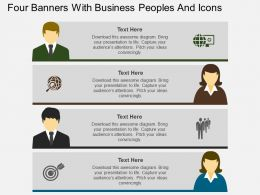 fx Four Banners With Business Peoples And Icons Flat Powerpoint Design