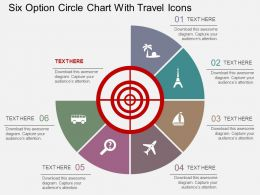 fx Six Option Circle Chart With Travel Icons Flat Powerpoint Design
